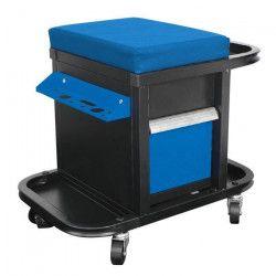 DEF`PRO Tabouret / servante d`atelier mobile avec rangements pour outils 50x45x36 cm bleu et noir