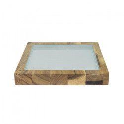 ECO DESIGN A1446-1 Assiette carrée Kesa Acacia - Pastel Mint - 22x22x3 cm
