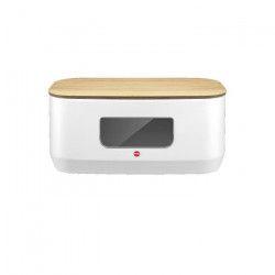 HAILO Boîte a pain - 41 x 23,5 x 17,5 cm - Blanc et bois naturel