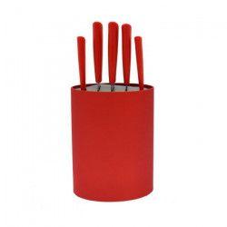 FRANDIS Bloc 5 couteaux - 17 x 7 x 35,7 cm - Rouge