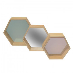 Lot de 3 étageres murales hexagonales en bois - Vert, miroir et rose