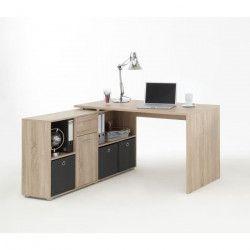 ZITO Bureau angle réversible classique décor chene - L 136 cm