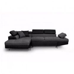 FUTURA Canapé d`angle gauche convertible 4 places + Coffre de rangement - Tissu gris foncé et simili noir - L 272