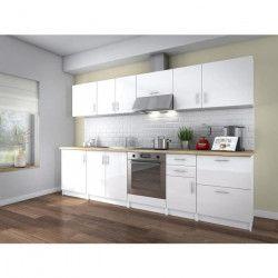 OBI Cuisine complete L 300 cm - Blanc laqué brillant