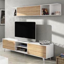 ZAIKEN PLUS Meuble TV scandinave blanc brillant et décor chene - L 180 cm