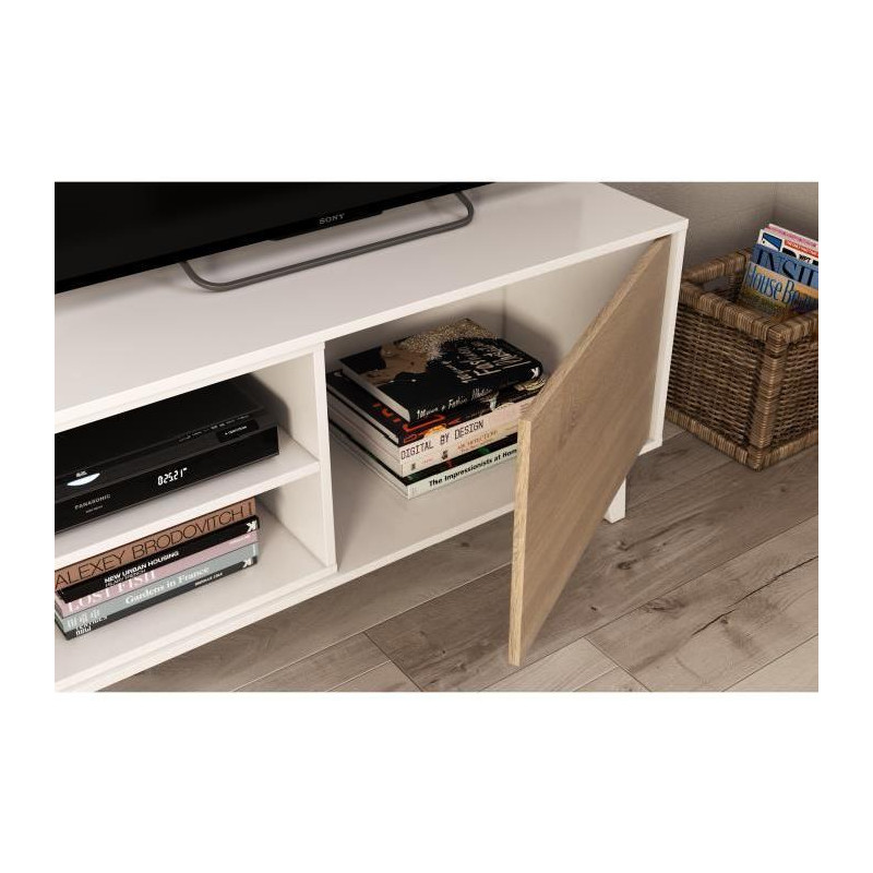 zaiken plus meuble tv scandinave blanc brillant et dcor chene l 180 cm
