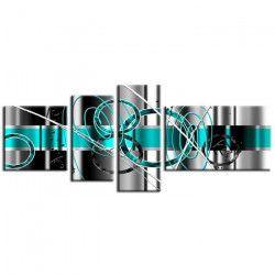 HEXOA Tableau multi panneaux abstrait Force 160x60 cm turquoise