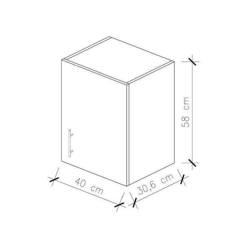 obi meuble haut de cuisine l 40 cm noir mat. Black Bedroom Furniture Sets. Home Design Ideas