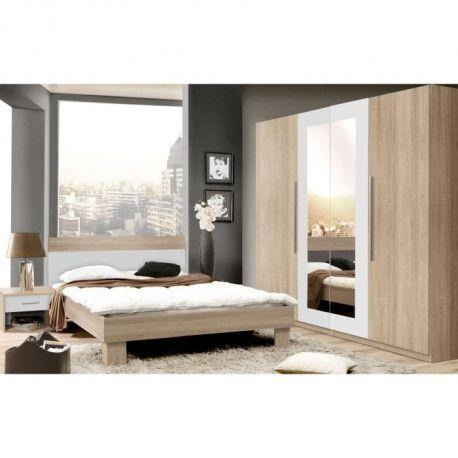 En Promo HELEN Chambre Adulte Complete Style Contemporain Décor Chene  Sonoma Et Blanc   L 140 X L