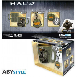 Pack Halo: 1 Mug + 1 Porte-clés + 2 Badges