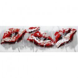 FLOWER Tableau déco toile peinte a la main 40x120 cm rouge