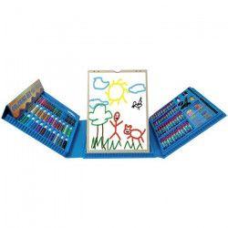 AKOR Malette de dessin avec chevalet - 120 Pieces - Bleu