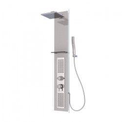 AURLANE Colonne de douche hydromassante avec robinet mitigeur mécanique Crystal - Blanc