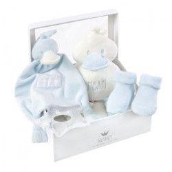 BAMBAM Boîte cadeau bleue - Des la naissance - Blanc et bleu - Garçon - Tissu - 21,5 x 8,5 x 21,5 cm