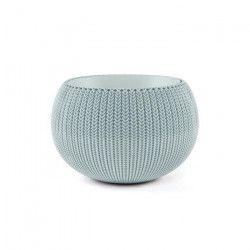 CURVER Pot de fleur - Aspect tricot - 36 cm - Bleu gris