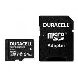 DURACELL Carte Micro SD 64GB Class 10U1+Adaptateur (R:80MB/S)