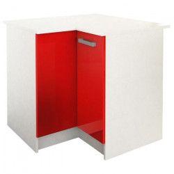 START Meuble de cuisine bas d`angle avec plan de travail L 88 x P 88 cm - Rouge brillant
