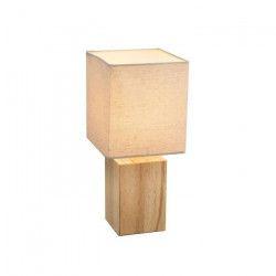 Lampe a poser - Tissu beige - Interrupteur - 16x16x35 cm - Bois clair