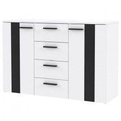 BOUNTY Buffet bas contemporain blanc mat et décor chene noir - L 120 cm