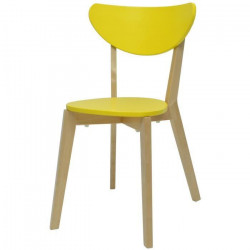 SMILEY Chaise de salle a manger en bois coloris bois naturel et jaune - Scandinave - L 37,5 x P 39,5 cm