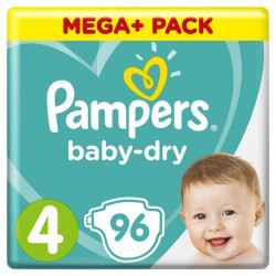 Pampers Baby-Dry Taille 4, 9-14kg, 96 Couches - Mega Pack