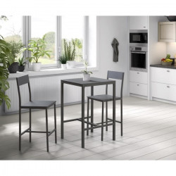 MANIRA Ensemble table bar de 2 personnes + 2 chaises - Style contemporain - Gris laqué - L 60 x l 60 cm