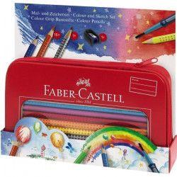 FABER-CASTELL Set Crayons de couleur Colour Grip Ballon Peindre et Dessiner - Coloris assortis