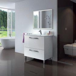 URBAN Ensemble salle de bain simple vasque L 80 cm avec miroir - Blanc brillant