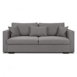 MALMA Canapé droit fixe 3 places - Tissu gris - Classique - L 192 x P 100 cm