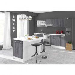 ULTRA Ilot de cuisine L 100 cm avec plan de travail - Décor chene gris