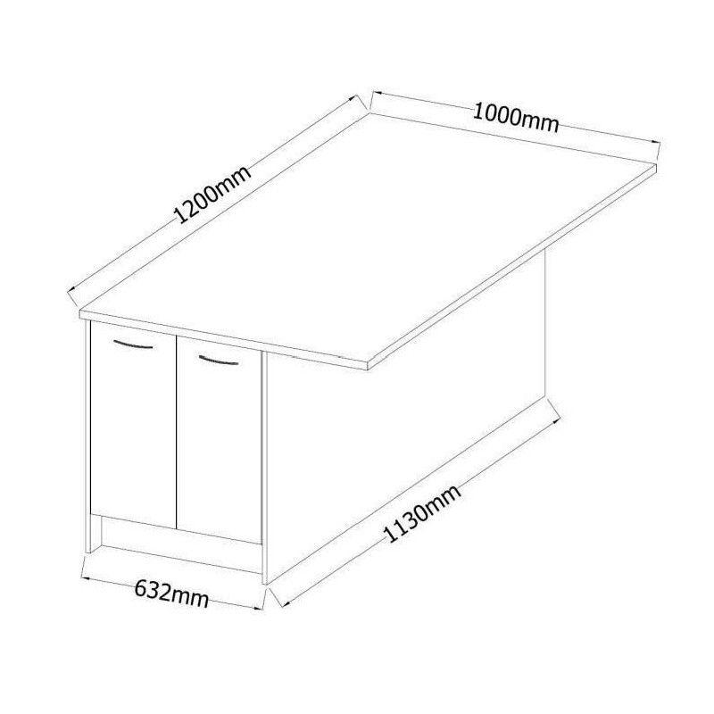 ultra ilot de cuisine l 100 cm avec plan de travail. Black Bedroom Furniture Sets. Home Design Ideas