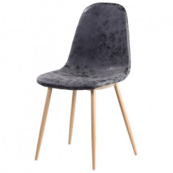 Chaise de salle a manger pieds en métal imitation bois - Revetement simili PU gris - Industriel - L 54 x P 44 cm