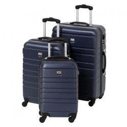 FRANCE BAG Set de 3 Valises Rigide ABS 4 Roues 55-65-70cm Marine