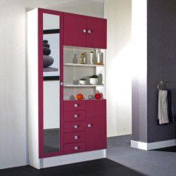 GALET Armoire de salle de bain L 90 cm - Blanc et rose fushia mat