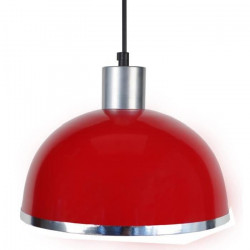 DEMI-BOULE C Lustre - suspension, demi-boule,rouge, diametre 24,5 cm,bande chrome, top aluminium