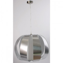 Lustre bande chromée - L 140 x Ø 45 cm - Blanc