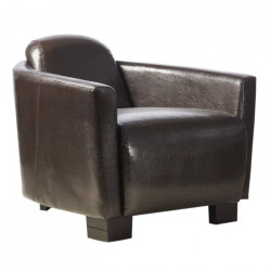 AVIATEUR Fauteuil Club Cigare - Simili marron - Vintage - L 79 x P 87 cm