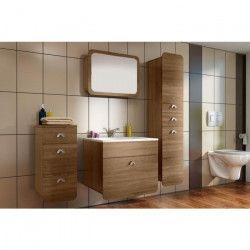 FOREST Ensemble salle de bain simple vasque L 60 cm avec miroir - Décor chene