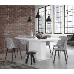 FINLANDEK Table a manger extensible KOVA de 4 a 6 personnes style contemporain blanc mat - L 160-200 x l 77 cm