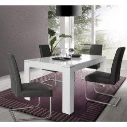 SLATE Table a manger extensible 6 a 8 personnes contemporain blanc brillant - L 160-206 x l 90 cm