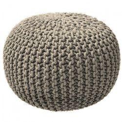 TODAY Pouf tricot 100% coton - Ø45xH30 cm - Beige