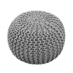 TODAY Pouf tricot 100% coton - Ø45xH30 cm - Gris givré