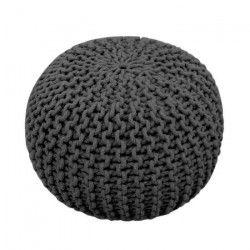 TODAY Pouf tricot 100% coton - Ø45xH30 cm - Gris anthracite