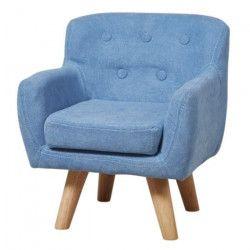 CHARLOTTE Fauteuil enfant tissu bleu - Pieds bois - Scandinave - L 42 x P 39 cm
