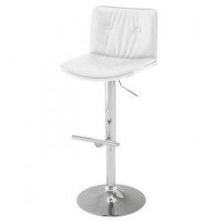 Will Tabouret de bar - Simili blanc - Classique - L 43 x P 50 cm