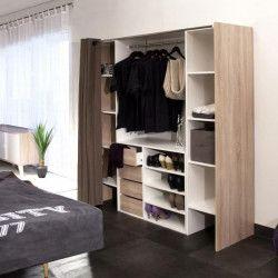 DRESS Kit dressing extensible + rideau contemporain blanc et décor chene - L 112-185 cm