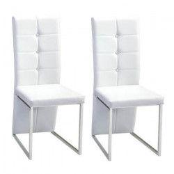 BLING Lot de 2 chaises de salle a manger - Simili blanc - Contemporain - L 44,5 x P 54 cm