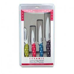 LE COUTEAU DU CHEF Coffret 1 éplucheur + 1 couteau d`office + 1 couteau a steack + 1 couteau chef manche soft