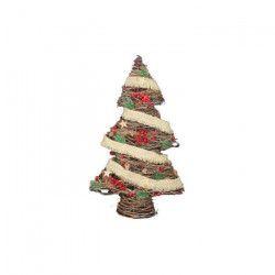 Sapin de Noël Artificiel Rouge en Bois 41x14x66 cm