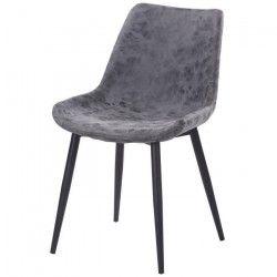 Chaise de salle a manger simili gris - Style industriel - L 53 x P 63 cm
